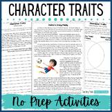 No Prep Character Traits Activities - Character Trait Passages - Print & Digital