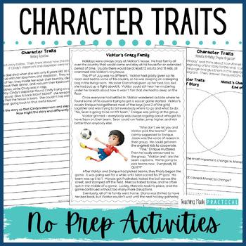 Character Trait Activities - No Prep - Character Trait Pas