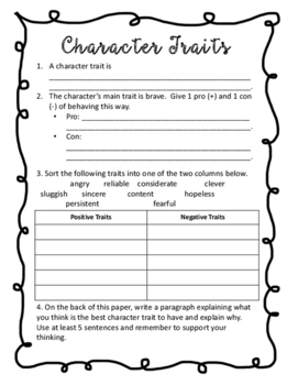 Character Trait Activities