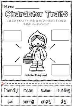 Character Trait Activities - Little Red Riding Hood - Freebie Sampler