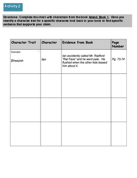Character Trait Activities (to be used with Island: Shipwreck)