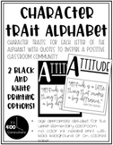 Character Trait Alphabet Posters with Inspirational Quotes