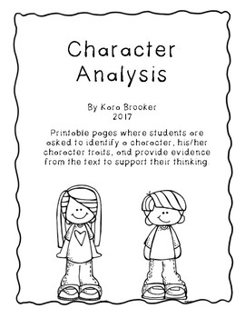 Character Trait Analysis Printables