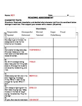 Character Trait Assessment ELA3RL3 (Common Core)