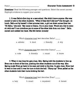 Character Trait Assessment/ Test/ Quiz- Grade 2