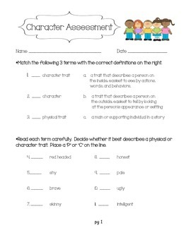 Character Trait Assessment (common core aligned 3rd, 4th, 5th grades)