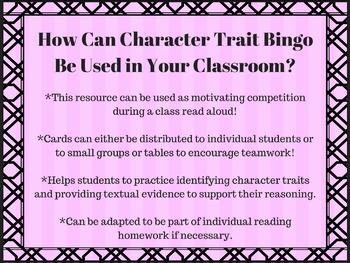 Character Trait Bingo: Adaptable for ANY Narrative Text or Chapter Book!