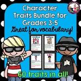 Character Trait Bundle for Grades 3-5! With a editable bon