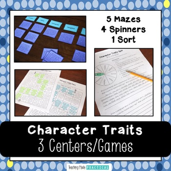 Character Trait Centers - Character Trait Games - Fun Practice
