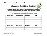 Character Trait Close Reading Graphic Organizer - Thoughts, Words and Actions