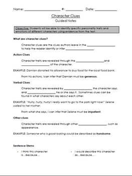 Character Trait Clues