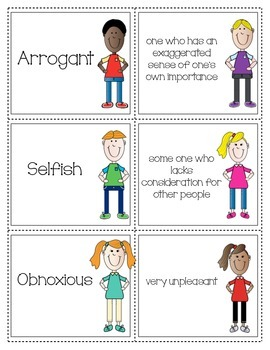 Character Trait Definition Matching Cards