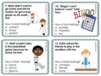Character Trait Task Cards: Level 1 and Level 2