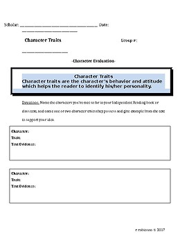 Character Trait Evaluation Template