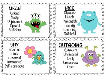 Character Trait Flashcard Bundle {Character Traits with Synonyms}