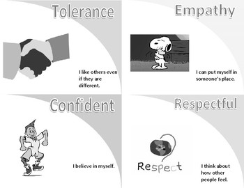Character Trait Flashcards-Black and White