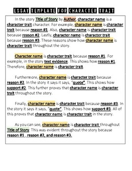 Character Trait Graphic Organizer and Essay Template