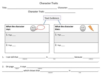 Character Trait Graphic Organizer with Text Evidence