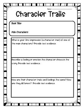 Character Trait Graphic Organizers