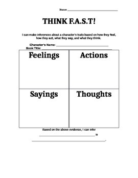 Character Trait Inferences (from Feelings, Actions, Sayings, and Thoughts!)