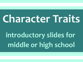 Character Trait Interactive SMART Activity for Middle or High School