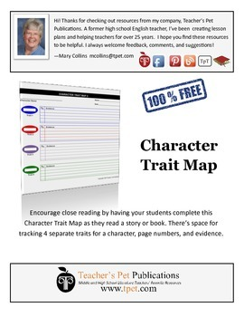 Character Trait Map Graphic Organizer