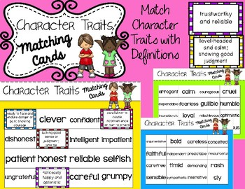 Character Traits Matching Cards: Words & Definitions
