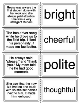 Character Trait Matching Task Cards I-Station Series (20 Cards)