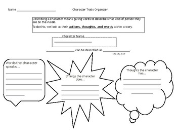 Character Trait Organizer and Paragraph Writing
