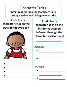 Character Trait Poster/notesheet