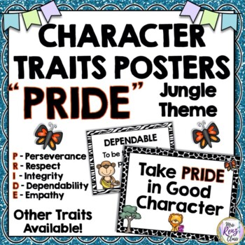 Character Trait Posters Jungle Themed PRIDE Posters