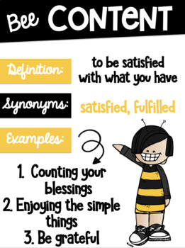 Character Trait Posters With Melonheadz Clipart and a Bumblebee Theme