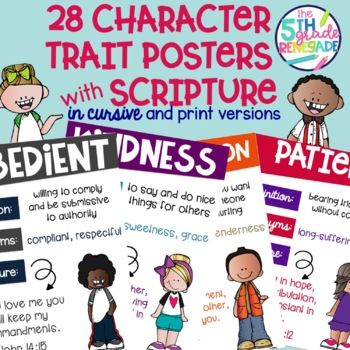 Character Trait Posters With Scripture Bible Verses and a Colorful Kids Theme