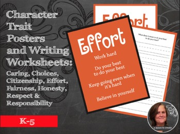 Character Traits Posters and Writing Prompt Worksheets