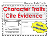 Character Trait Profile & Citing Evidence Organizer WITH RUBRIC!