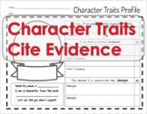 Character Trait Profile & Citing Evidence Organizer!