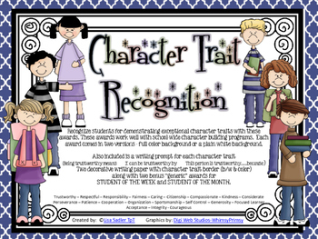 Character Trait Recognition Awards and Writing Prompts
