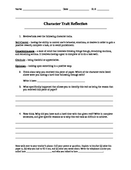 Character Trait Reflection