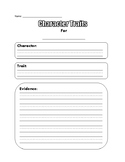 Character Trait Sheet