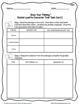 Character Trait Short Constructed Response Task Card 2 Freebie!