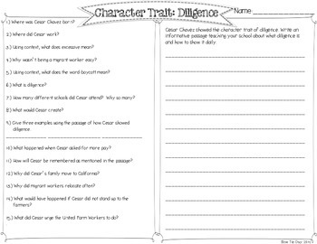 Cesar Chavez and the Character Trait Diligence Passages