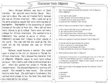 Mary McLeod Bethune Character Trait Spotlight: Diligence
