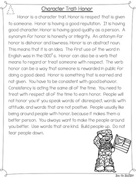 Character Traits: Honor Differentiated Reading Passages