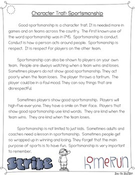 Character Traits: Sportsmanship Differentiated Reading Passages