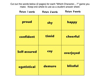 Character Trait Synonym Games and Practice with the Common Core