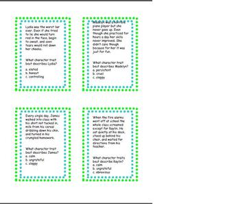 Character Trait Task Cards Packet!
