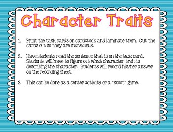 Character Trait Task Cards- RL 2.3
