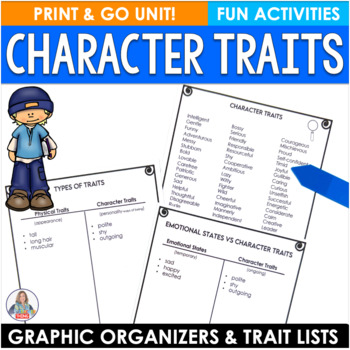 Character Trait Task Cards, Skit Cards, and Mini-Unit