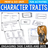 Character Traits Activities and Task Cards