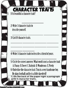 Character Trait Test/Worksheet